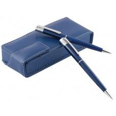 Комплект химикал и автоматичен молив в кожена кутия