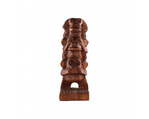 Дървена фигура Трите маймуни