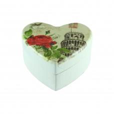 Дървена кутия за бижута Сърце