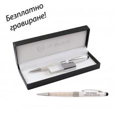 Комплект химикалка с кристали и USB - Nice