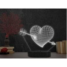 3D LED нощна лампа HEART