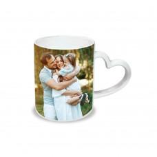 Керамична чаша с дръжка сърце със снимка