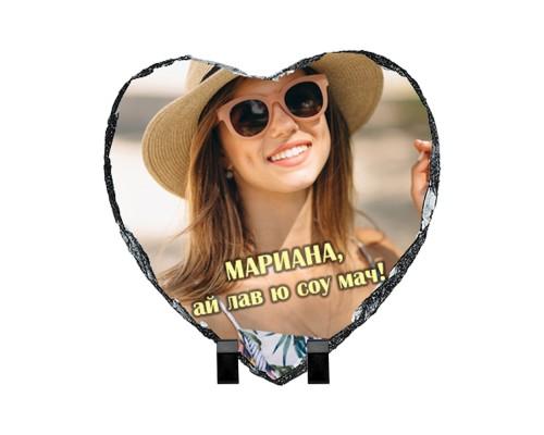 Скална плоча сърце със снимка