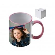 Керамична чаша с цветна дръжка със снимка