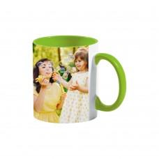 Керамична чаша с цветна вътрешност със снимка