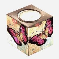 Стъклен свещник с чаена свещ Пеперуди