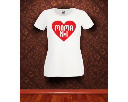 Дамска тениска с надпис Mama №1